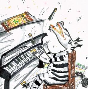 Zebra in seinem Element. A. Pape 2004