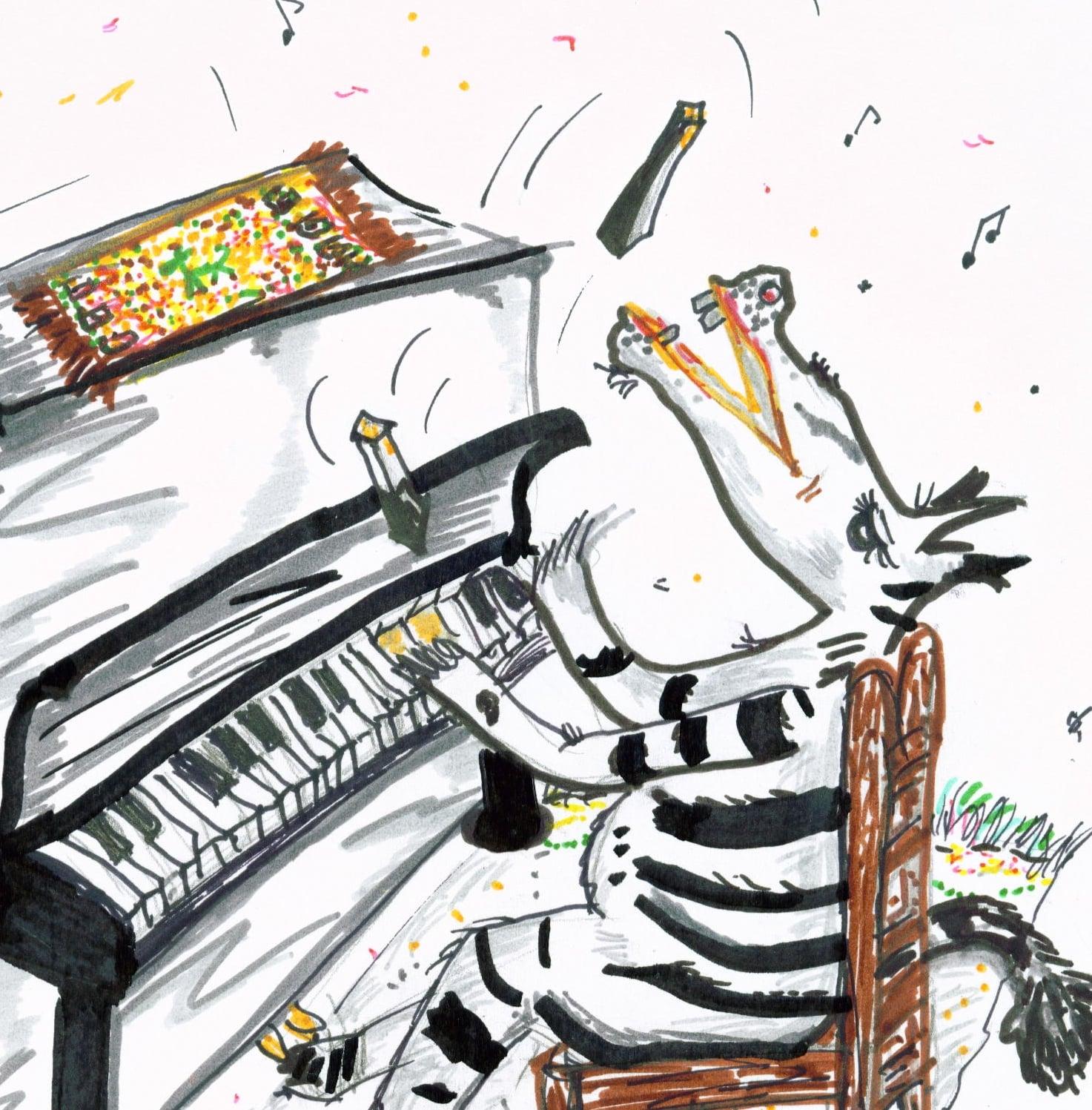 Zebra sitzt am Klavier und wirft Tasten. A. Pape 2004