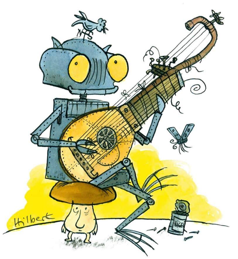 Ritter Rost (Zeichnung) spielt Laute