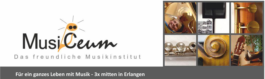 Logo Musikinstitut MusiCeum und Fotos von Instrumenten