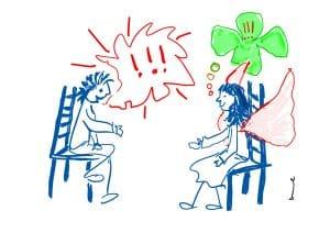 Strichzeichnung zwei Leute sitzen auf Stühlen und reden miteinander